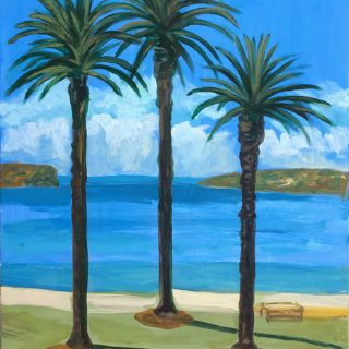 Balmoral palms, synthetic polymer on canvas, 76 x 61cm