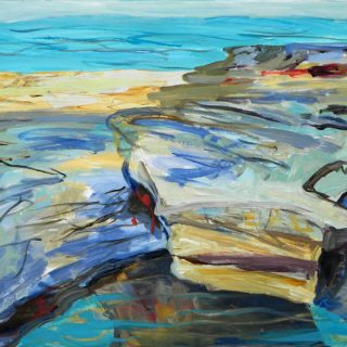 Dee Why Beach - Tide's Out, synthetic polymer on canvas, 76 x 102cm
