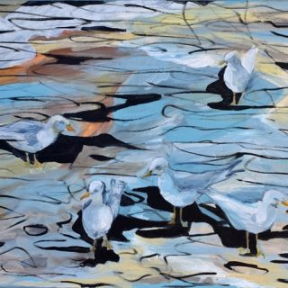 Morning with Seagulls, synthetic polymer on canvas, 61 x 76cm