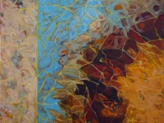 Rockpool reflections 1 acrylic on canvas100 x 100cm copy