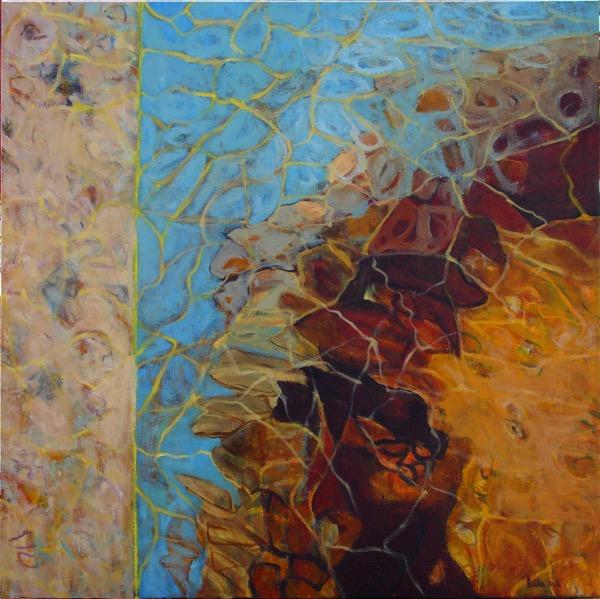 Rockpool reflections 1 acrylic on canvas100 x 100cm copy