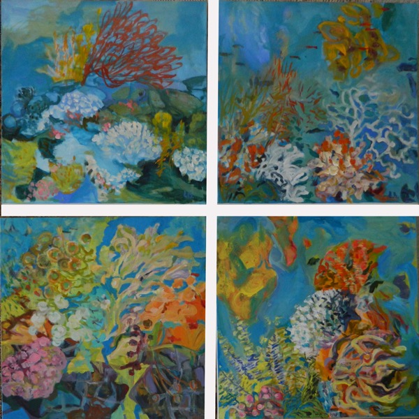 Sea garden 1 to 4 acrylic on canvas, 4 panels 60 x 60cm copy