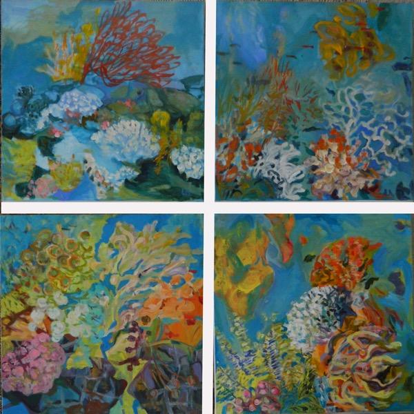 Sea garden 1 to 4 acrylic on canvas, 4 panels 60 x 60cm copy