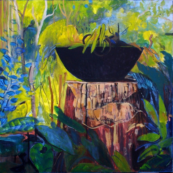 Wendy's garden lavender bay memories are blue acrylic on canvas 91 x 91cm copy
