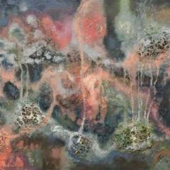 Berry island abstract acrylic on canvas, 90 x 60cm