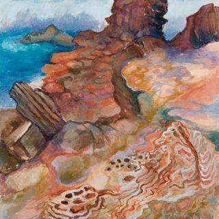 Cronulla rocks watercolour on paper, 30 x 40cm copy