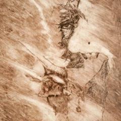 Fallen angel etching, 20 x 29cm