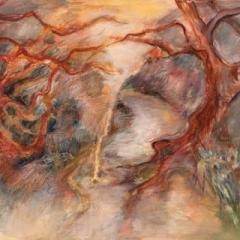Fantasy landscape, watercolour and oil pastel on paper, 60 x 40cm copy