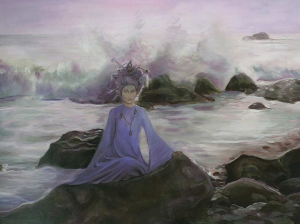 Little mermaid on the rocks acrylic on canvas, 90 x 120cm copy