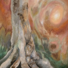 Om shanti watercolour & pastel on paper 30 x 40cm