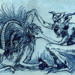 Satyr etching 14 x 10cm