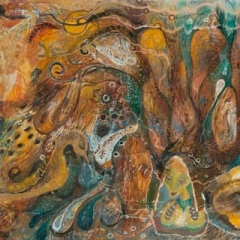Seahorse song collage and mixed media on paper 102 x 79cm