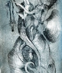 Underwater fairies etching 10 x 21cm
