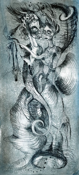 Underwater fairies etching 10 x 21cm