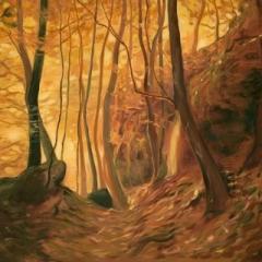 Waterfall golden spinning wheel acrylic on canvas, 100 x 100cm