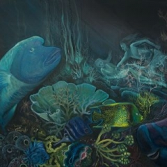 Waterman in great barrier reef, acrylic on canvas, 91 x 61cm copy