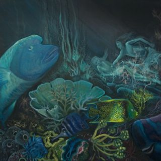 Waterman in great barrier reef, acrylic on canvas, 91 x 61cm copy