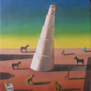 Goodbye de chirico oil on canvas 56 x 51 cm