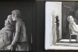 Staging beckett boxed set (2) of 37 mixed media drawings 34 x 45cm copy
