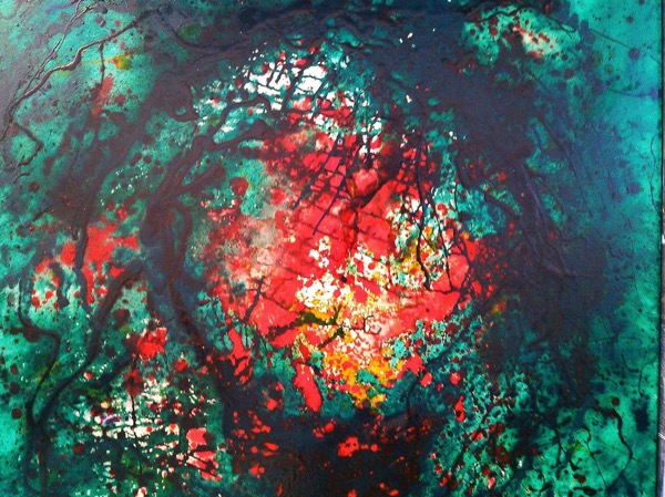 Forest fire oil and varnish on canvas, 90 x 80cm