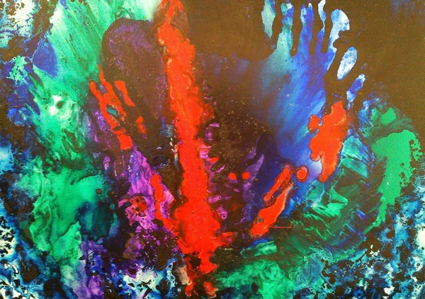Forest flower oil and varnish on canvas, 90 x 80cm