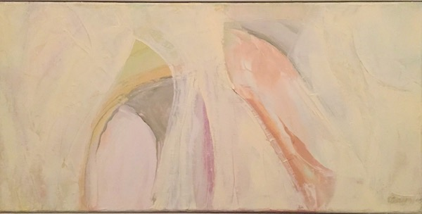 Apricot abstract oil on canvas, 39 x 77cm (inc frame)