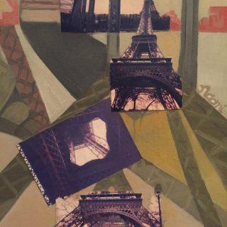 Eiffel Tower oil & collage on canvas, 53 x 43cm (inc frame)