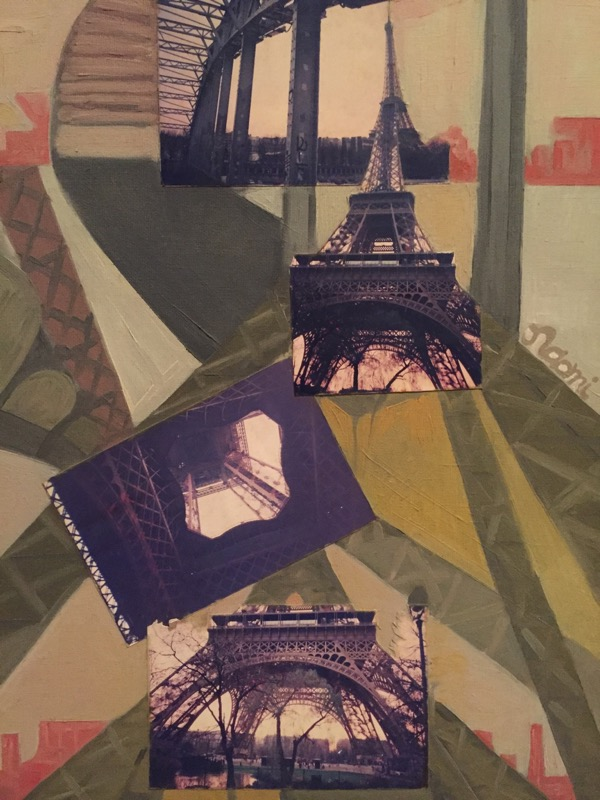 Eiffel Tower oil & collage on canvas, 53 x 43cm (inc frame)