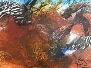 Beyond ediacaran biota, acrylic & mixed media on paper, 77 x 99 cm
