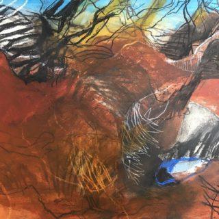 Beyond Ediacaran Biota, acrylic & mixed media on paper, 77 x 99cm (incl frame)