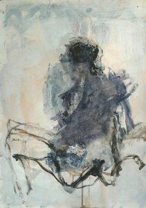 Blue nude acrylic on paper, 59 x 42cm