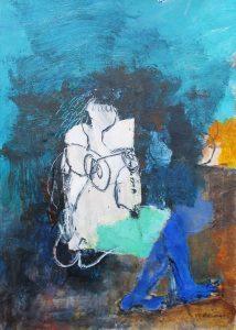 Blue stockings, acrylic on paper, 42 x 30cm