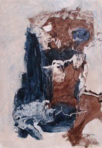 Brown figure, acrylic on paper, 42 x 30cm