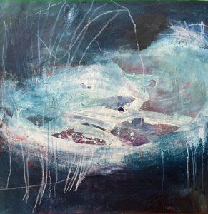 Cambrian impressions, acrylic & mixed media on canvas, 91 x 91cm