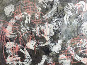 Dickinsonia abstractions 1, acrylic & mixed media, 77 x 99cm
