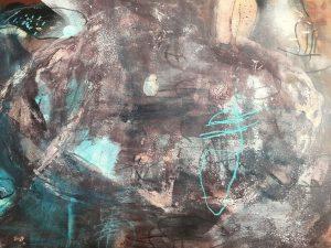 Ediacaran imprints, acrylic & mixed media on paper, 77 x 99