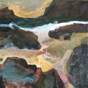 From boat beach, acrylic on canvas, 91 x 91cm
