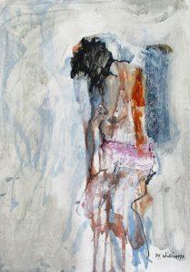 Girl sitting, acrylic on paper, 42 x 30cm