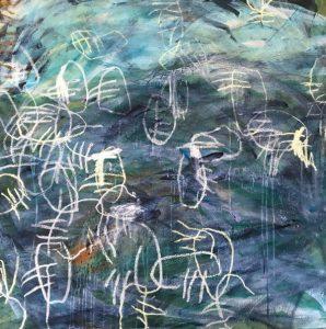 Joyous abundance, acrylic & mixed media on canvas, 101 x 101cm