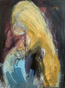 Mia, mixed media on paper, mounted & unframed 73 x 92 cms