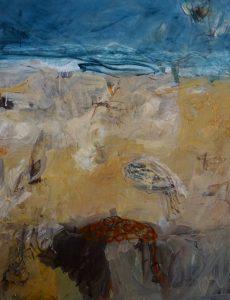 Sand tracks acrylic & oil crayon on canvas, 122 x 92 cm