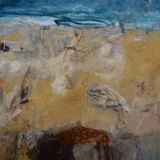 Sand Tracks acrylic & oil crayon on canvas, 122 x 92cm
