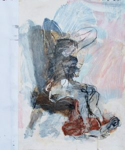 Seated figure acrylic on paper 42 x 30cm