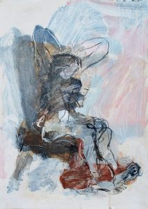 Seated figure, acrylic on paper, 42 x 30cm