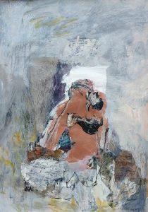 Sitting woman series no 13 acrylic on paper, 59 x 42cm