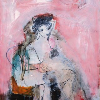 Study in pink, acrylic on paper, 59 x 42cm