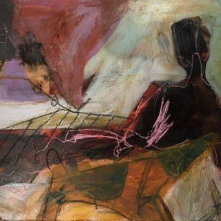 Sunday morning acrylic & mixed media on paper 73 x 93 (mounted)