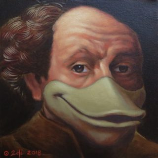 Rembrandtkwek, acrylic on canvas, 30 x 30cm 2018