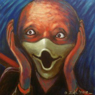 Screamkwek, acrylic on canvas, 30x30cm