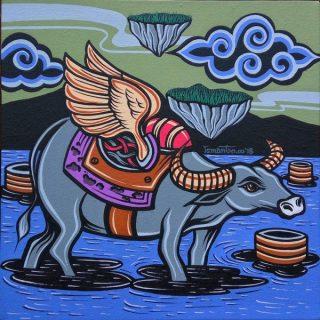 Shio off series buffalo, acrylic on canvas, 30 x 30cm